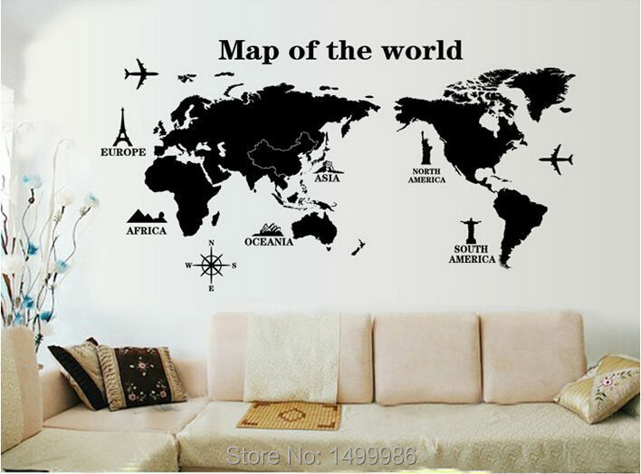 Map of world Cartoon Family DIY Love Bedroom decorative Home Decor Wall Stickers Vinyl Baby Child PVC Removable Gifts(China (Mainland))