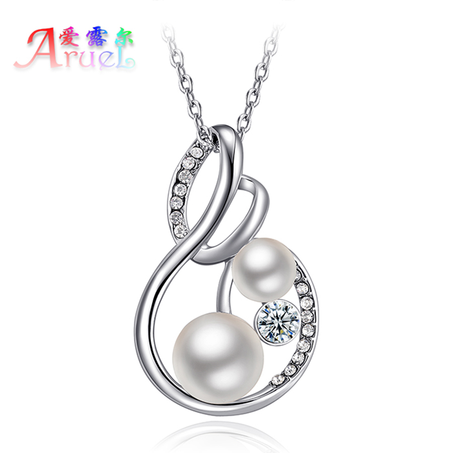 collier Simulated-pearl jewelry channel necklace for women fashion colar platinum plated crystal girls necklaces pendants gifts(China (Mainland))