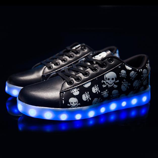 7 Colors Unisex Led Luminous Light Shoes Printed Skull head Men Women Fashion USB Light Led Shoes for Adult Eur 36-44  NX4031<br><br>Aliexpress