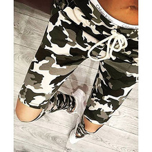 2016 New Military Trousers For Women Full Length Ripped Skinny Pencil Pants Female Sports Fitness Camouflage Slim Pants