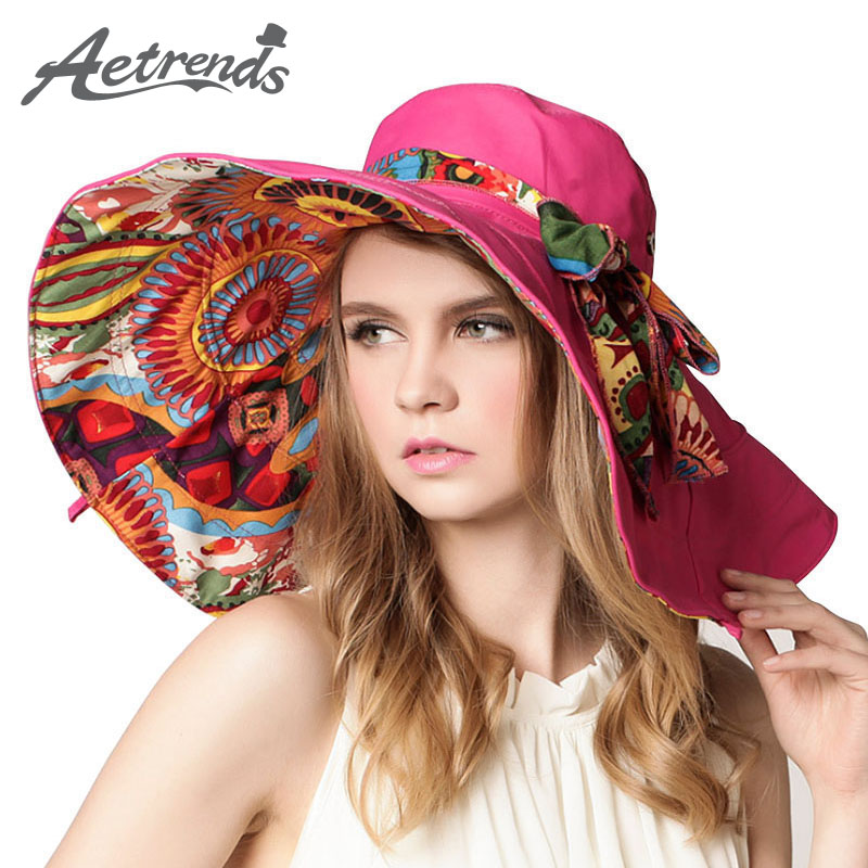[AETRENDS] 2017 Fashion Design Flower Foldable Brimmed Sun Hat Summer Hats for Women Outdoor UV Protection Z-2657()