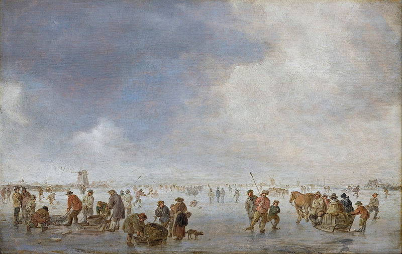 Canvas Art Prints Stretched Framed Giclee World Famous Artist Oil Painting Jan Van Goyen Winter Scene On Ice