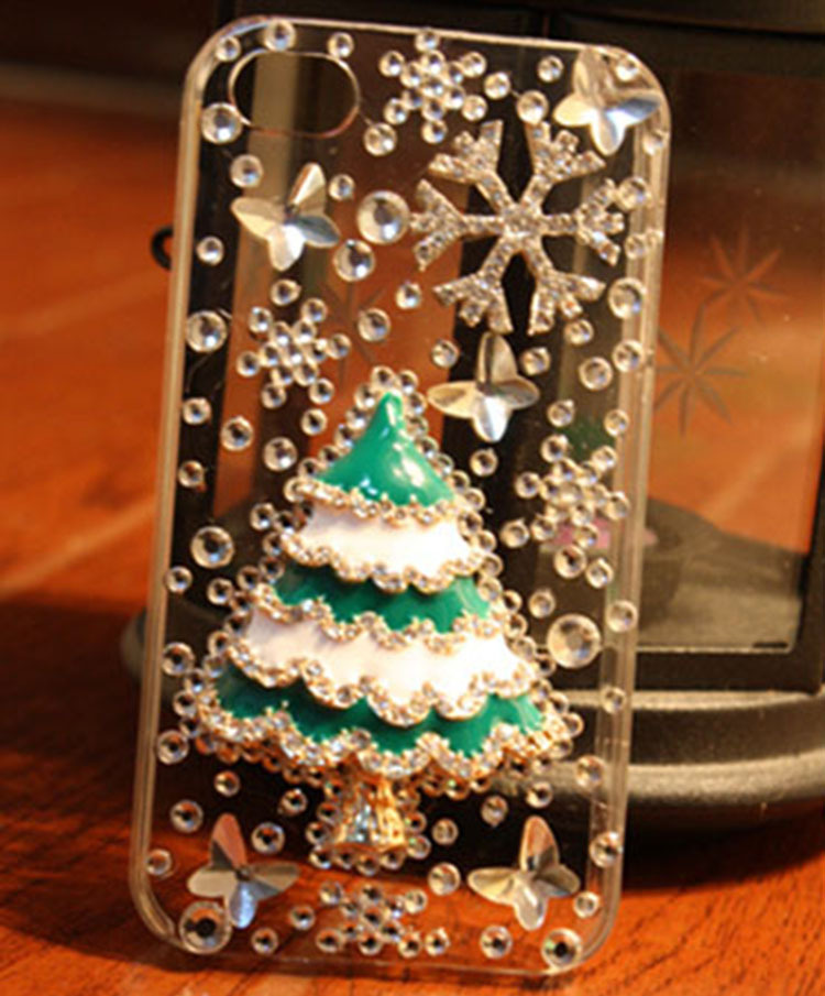 Luxury bling bling christmas tree case for iphone 5 iphone 4s iPhone 6(China (Mainland))