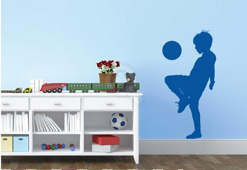Unique Boy playing football Wall Decoration Removable Kids decor sticker Wall Sticker Boys Decal Home(China (Mainland))