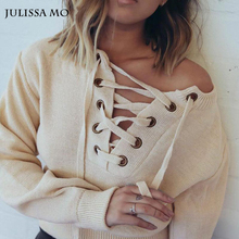 Julissa Mo Sweater Women 2016 Deep V Neck Lace Up Cross Knitted Tops Women Pullover Fluffy Loose Pullover Jumper Street Outwear(China (Mainland))