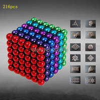 Hot Mixed 6 color Buckyball Neocube 5mm Diameter 216pcs Funny Magnetic Ball with Nickel Coating Toy ball Free Shipping