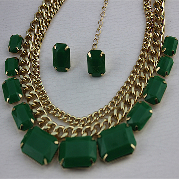 2015 new Ms. coarse gold chain necklace green earrings with green fashion European and American style(China (Mainland))
