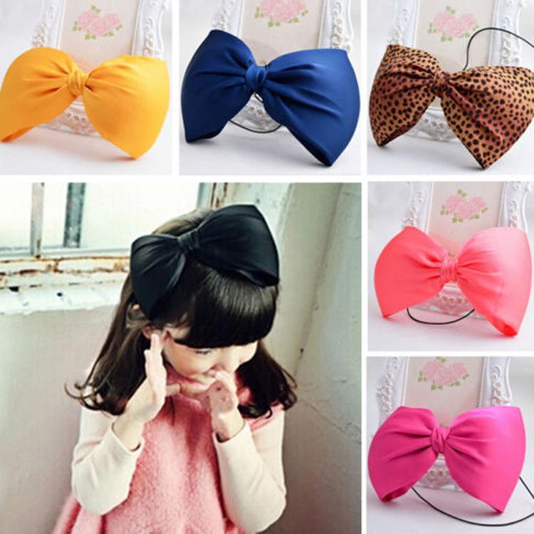 Cute Large Bow Knot Girls Hair Accessories 5 Colors Bow Headband Classic School Baby Headband(China (Mainland))