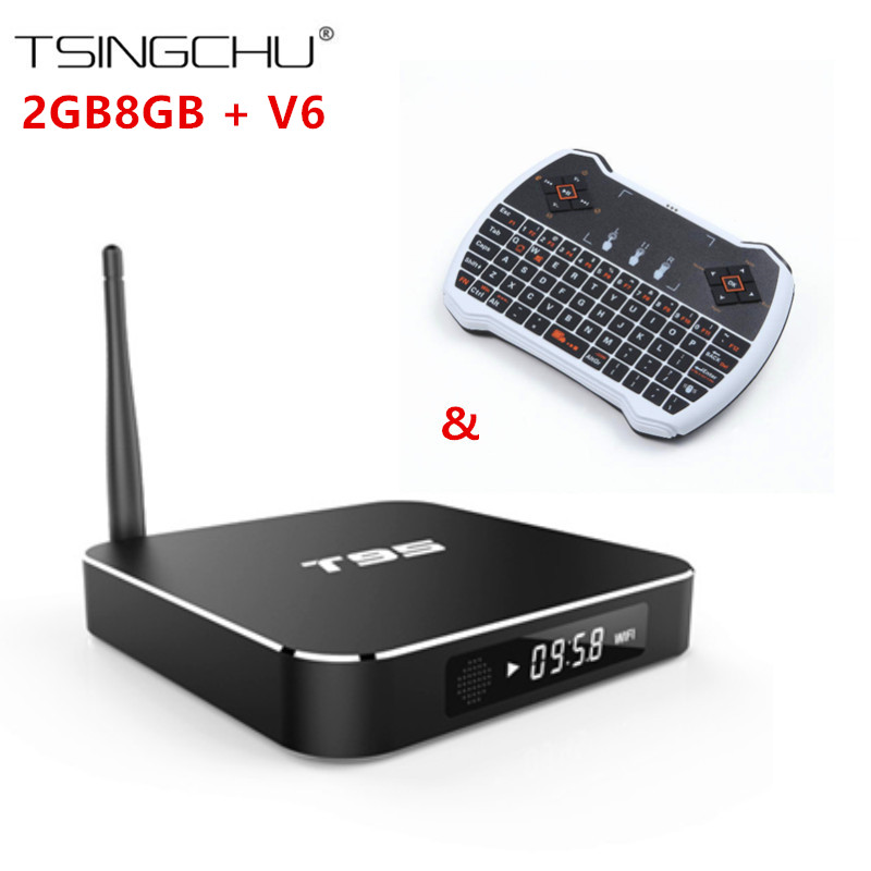 Фотография (5pcs)Original  Amlogic S905 Quad Core Android 5.1 T95 Smart TV Box 2G/8G+(5pcs)V6 2.4G Wireless Fly Air Mouse Touchpad Keyboard