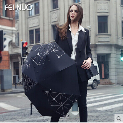 women creative print folding umbrella black coating Uv protection women summer sunshade beach umbrella sunny and rainy umbrellas(China (Mainland))