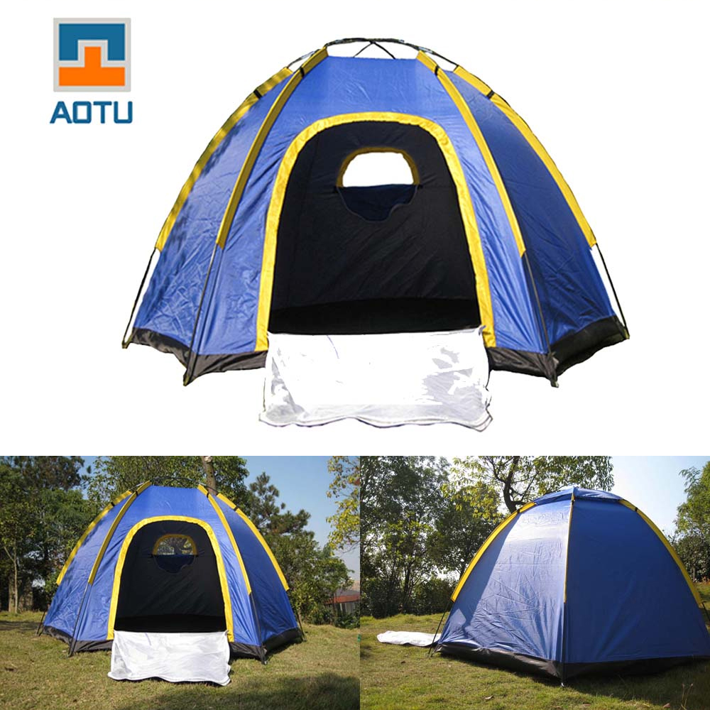 Hexagonal Camping Tent for 3-4 Persons UV-resistant Portable Outdoor Tent with Carrying Bag for Travel Family Camping Blue(China (Mainland))