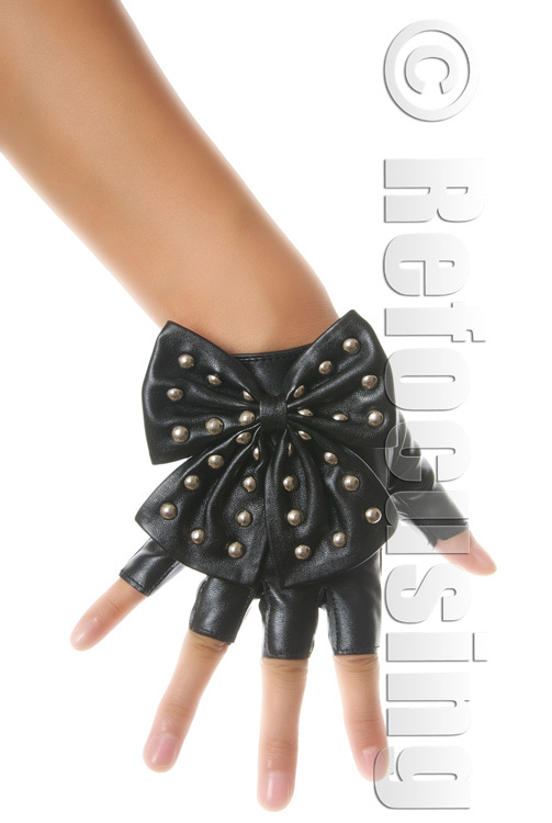 WOMEN'S FAUX LEATHER FINGERLESS GLOVES STUD BOW FREE SHIPPING(China (Mainland))