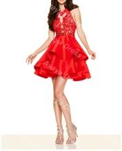 High Neck Lace Top Elegant cocktail dresses 2017 Sleeveless Red Cocktail Dress Abendkleider Short Evening Party Dress(China (Mainland))