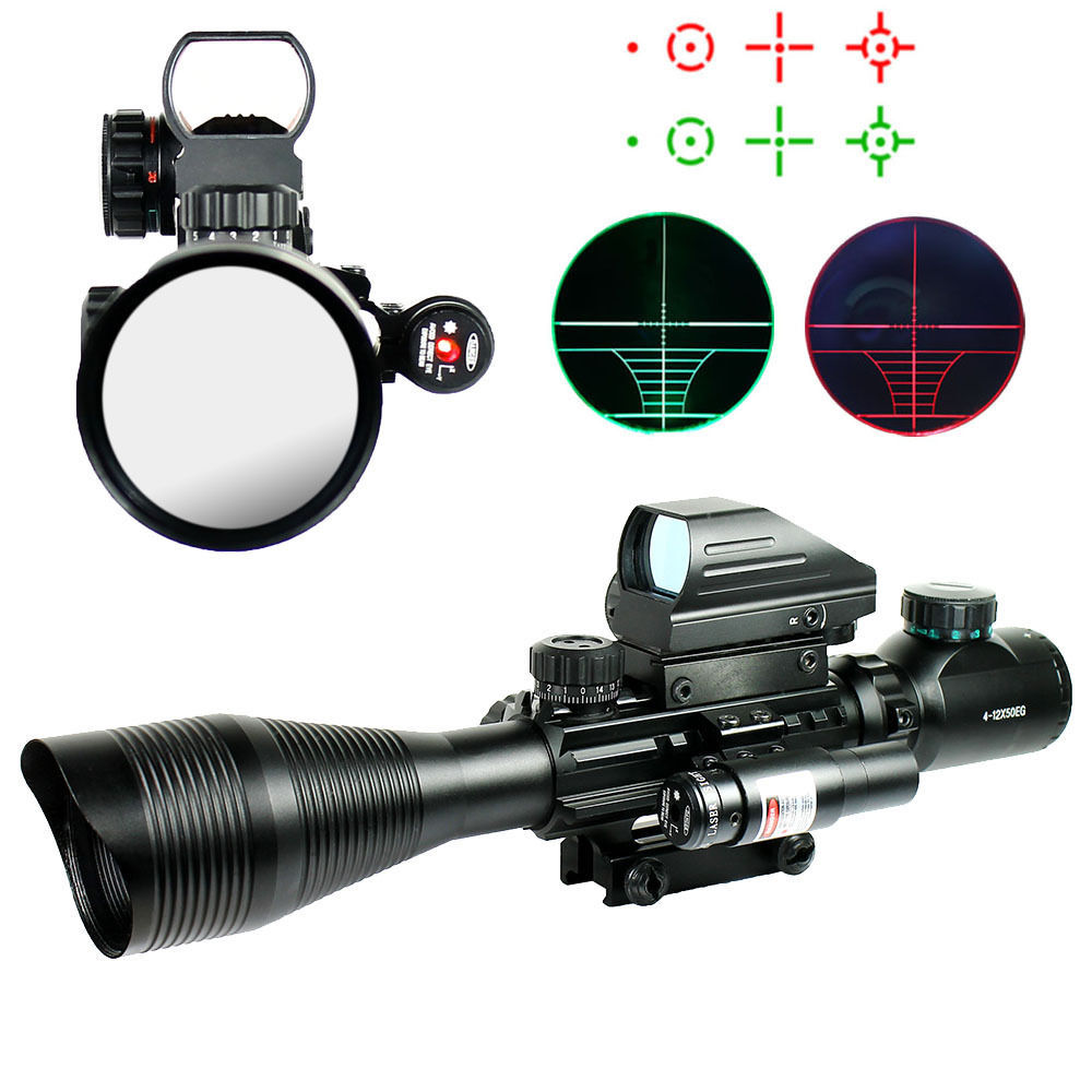 New 4-12X50EG Tactical Rifle Scope with Holographic 4 Reticle Sight & Red Laser Combo Airsoft Weapon Sight Hunting Rifle