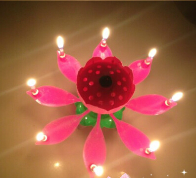 3pcs Beautiful Music Blossom Lotus Flower Candle Birthday Party Music Sparkle(China (Mainland))