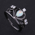 2017 New Crown Black Gold color Elegant Engagement White Fire Opal Ring With AAA CZ Zircon