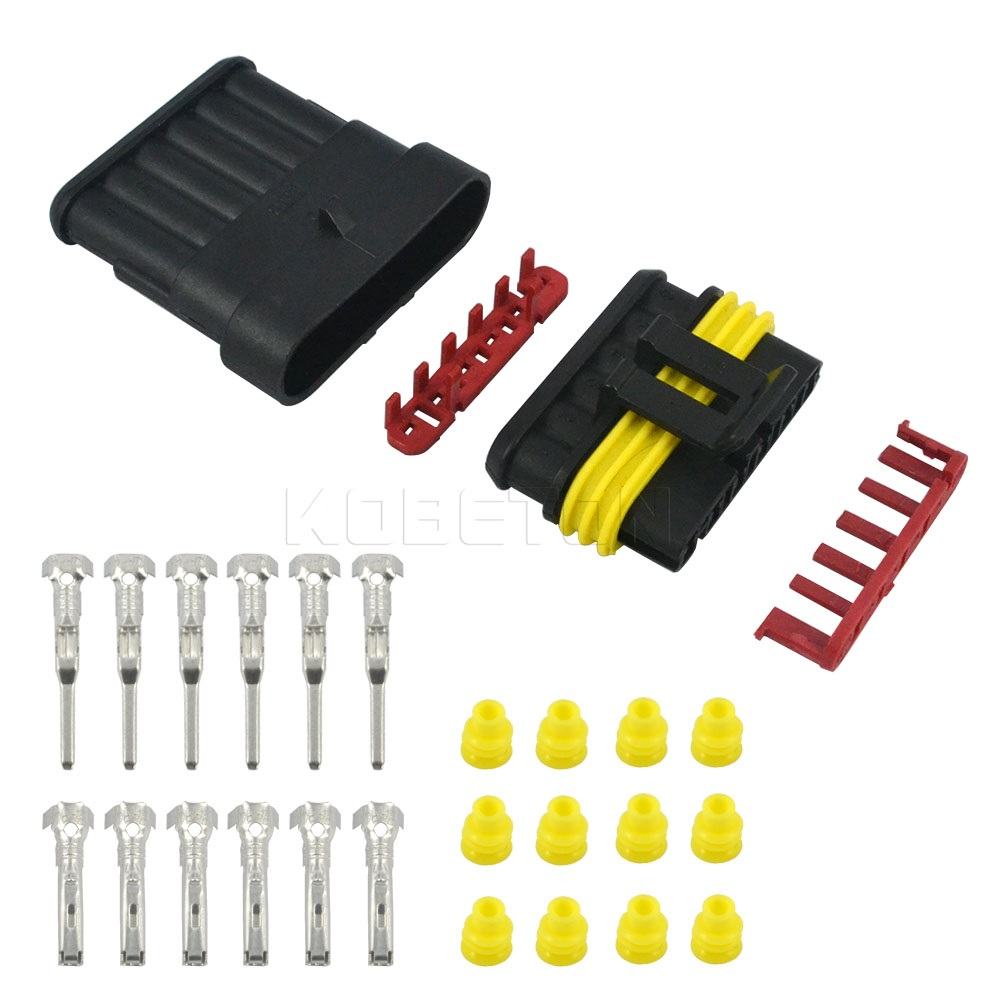 5 Sets/lot Part 6 Pin Way Sealed Waterproof Electrical Wire Auto Connector Plug Set for Car Motorcycle HID LED Light fog lamp(China (Mainland))