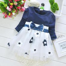 2015 Korean Blue Girls Dress Plum Blossom  Flower Print Spring and Autumn Kids Clothing Size 6M-24M(China (Mainland))