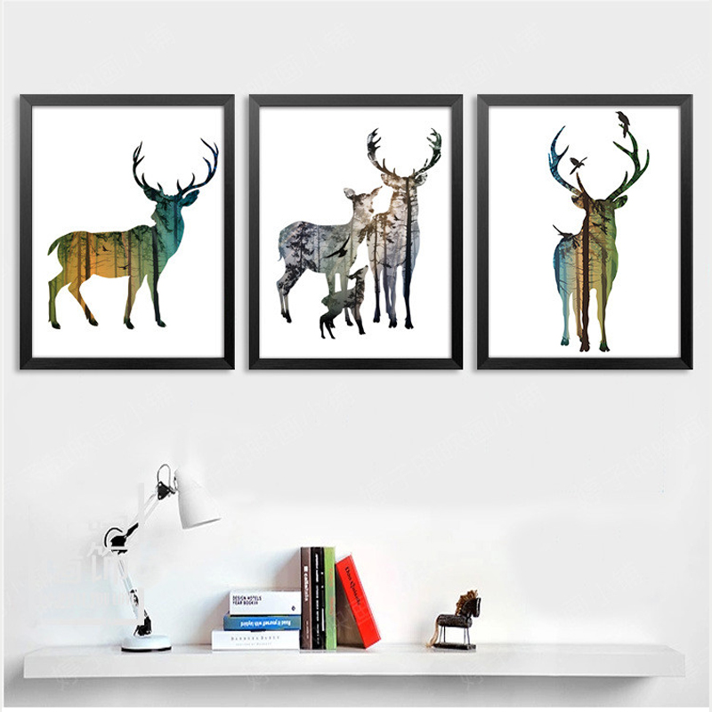 6 style Forest Deer Family Cartoon A4 Child Room Art Print Poster Painting Living Room Animals Design Wall Picture Office Printi(China (Mainland))