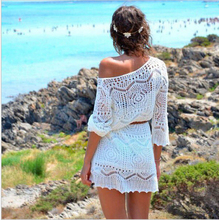 2015 Fashion Women White Hollow Out  Lace Beach Dresses With Belt AB12(China (Mainland))