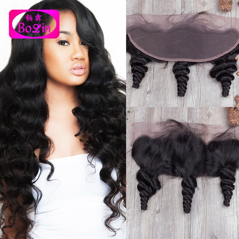Фотография Brazilian Virgin Hair Lace Frontals 13X4 Loose Wave Lace Frontal Closure,Ear To Ear Full Lace Frontals Closure With Baby Hair