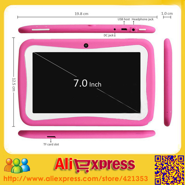 "Free shipping 7"" Cheap Tablet PC for Kids RK3026 Dual Core Dual Camera With Soft Protective Case for Girls and Boys(China (Mainland))"