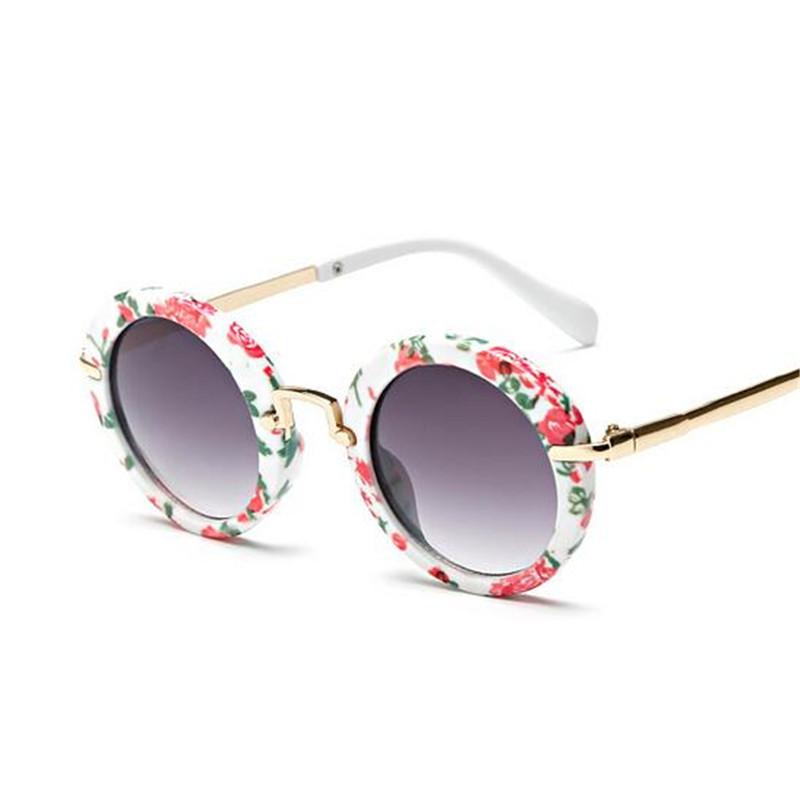 2016 New Luxury Print Floral Round Wrap Plastic Frame Kids Sunglasses Girls Fashion Oversize UV400 Eyewear For Boys SACJ1620