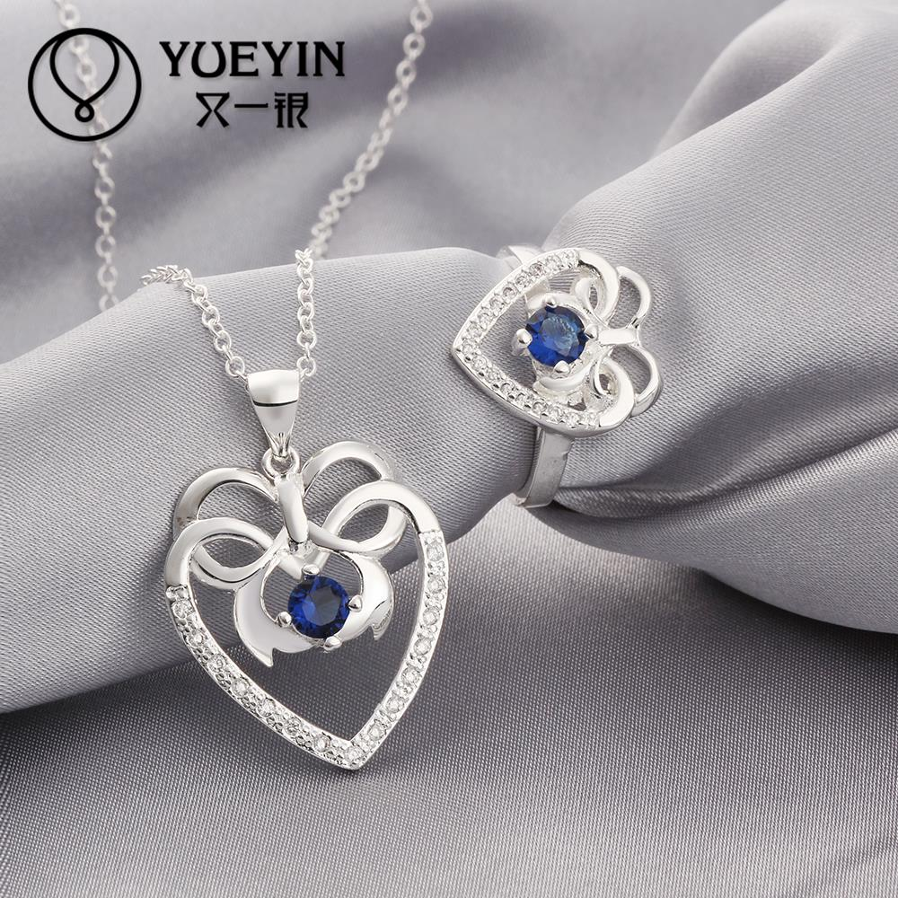Free Shipping Fashion 925 sterling Silver Jewerly Set for Women Wedding jewelry sets Wholesale Cheap blue sapphire ring collier(China (Mainland))