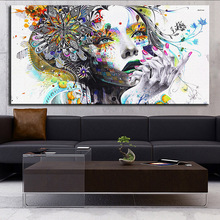DP ARTISAN Modern wall art girl with flowers  oil painting Prints Painting on canvas No frame  Pictures Decor For Living Room(China (Mainland))