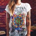 CDJLFH 2017 Summer Shirts Women Graffiti Print O Neck Short Sleeve Women Blouses White Blusas WBX012