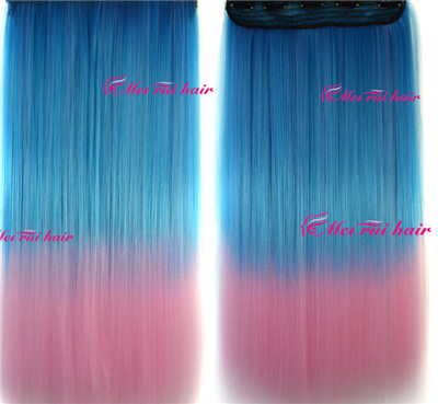 1pc/set 5 combs 110g 55cm length Ombre two tone Clip in Hair Extension fading clip on hair weft Free Shipping hair extensions(China (Mainland))