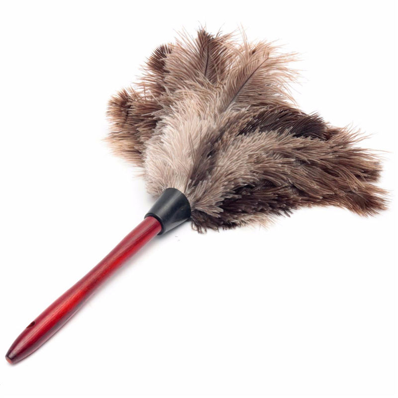 20cm Anti Static Natural Fall Ostrich Fur Feather Duster Brush Wood Handle Household Cleaning Car Fan Furniture Dust Cleaner(China (Mainland))