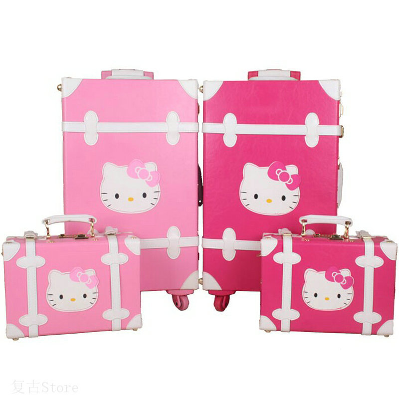 "Women Vintage Trolley Luggage Travel Bag Hello Kitty Luggage Universal Wheels Luggage Sets Travel Suitcase 20"" 22"" 24"" inches(China (Mainland))"