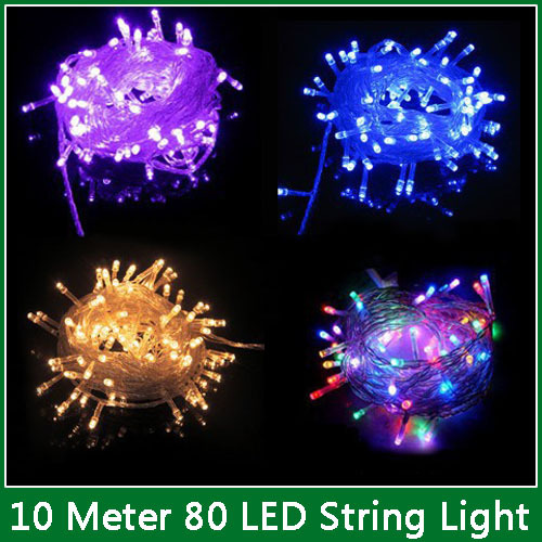 10M Waterproof 220V 80 LED Bulbs String Christmas Festival Party Fairy Colorful Xmas LED String Lights, 9 Colors Available(China (Mainland))