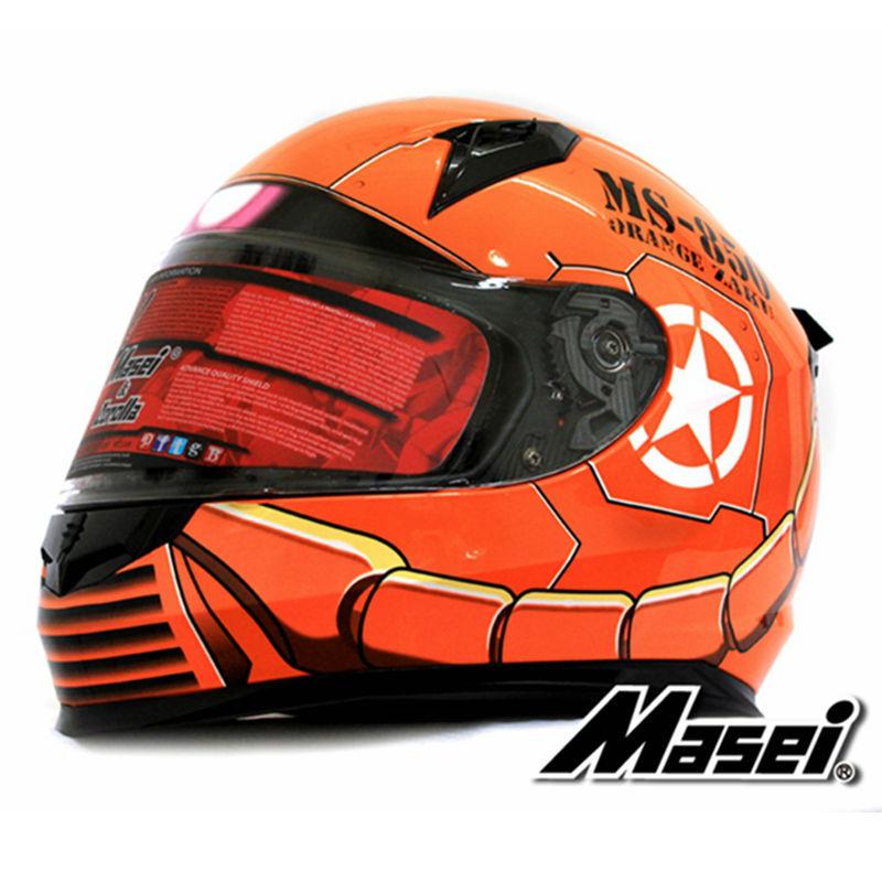 MASEI 850 Orange zaku full face helmet motorcycle helmet mens womens helmet ABS high quality racing DOT ECE approved helmet(China (Mainland))