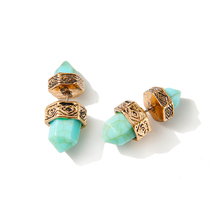 European Ethnic Jewelry Silver Gold Earrings Hexagonal Prism Pile Imitation Turquoise Double Marble Stone Stud Earrings Women(China (Mainland))