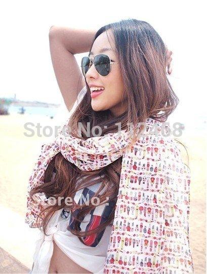 10pcs lot Hot sale lips stick wine bottle perfume Graffiti chiffon velvet scarves R7A16084