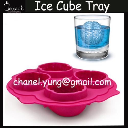 3D Ice Cube Tray Factory Wholesale Halloween Cool Brain Shape Candy Jelly Ice cake Silicone Mould Mold Baking Pan Tray(China (Mainland))