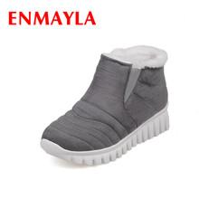 ENMAYLA Slip-on Invierno Botas de Nieve Caliente Zapatos de Mujer de Tacón Bajo cuñas Botas de Plataforma Botines para Las Mujeres Sexy Negro Rojo zapatos(China (Mainland))