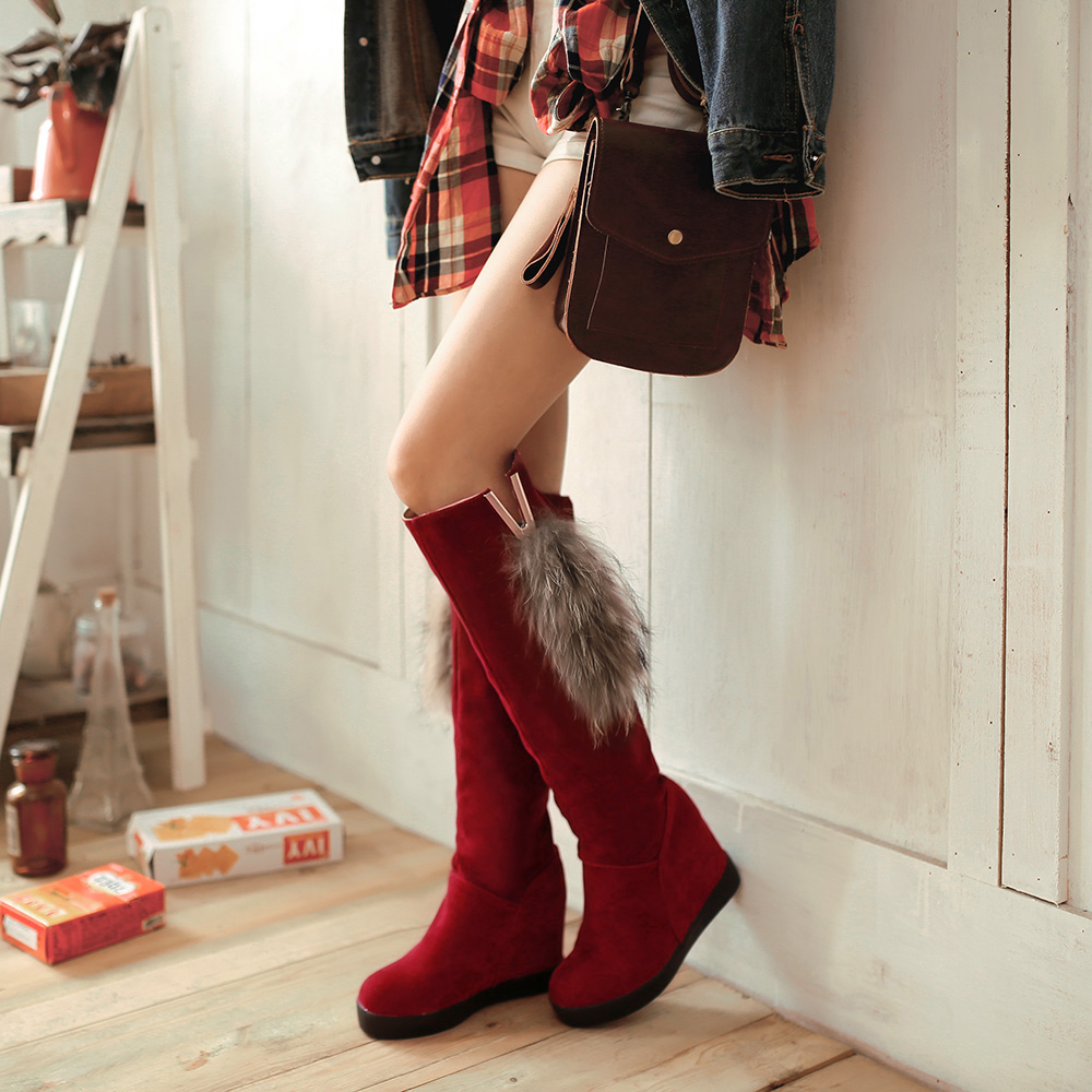 Гаджет  Wedges high fur autumn and winter over-the-knee tall boots wedges high-heeled snow boots  None Обувь