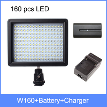 WanSen W160, LED Video Camera Light For CANON For NIKON + battery + charger the same with CN-160 free shipping(China (Mainland))