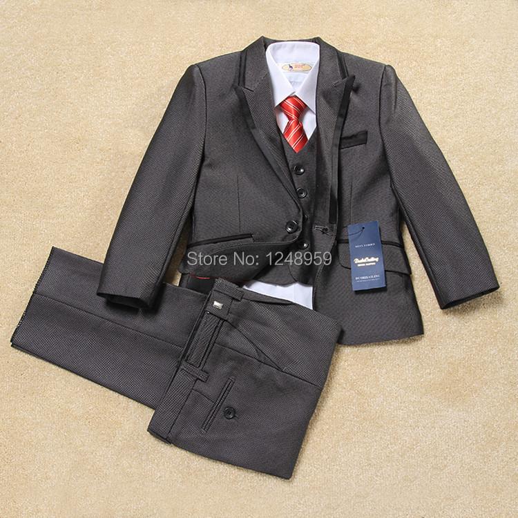 Quality2014 new children kids sets formal suits party dance 5pcs/set coat+pant+Vest+Necktie+Bow tie baby boy wedding formal sets(China (Mainland))