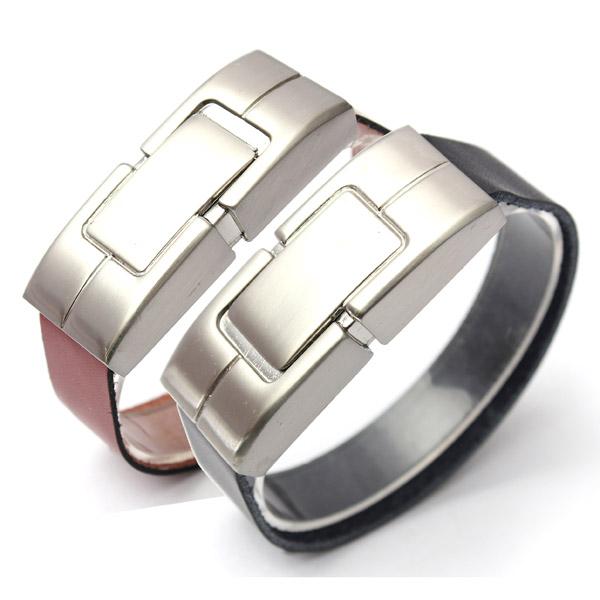 free shipping Promotional gift man hand band usb 2.0 8GB 16GB 32GB wristband leather bracelet usb flash drive(China (Mainland))