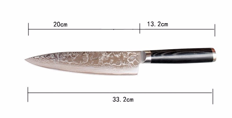 "Buy LD  8 "" chef knife 73 layers Japanese Damascus steel kitchen knife senior meat/vegetable knife wood handle free shipping cheap"