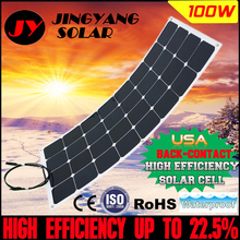 Factory Price Retail solar panel 100w; semi flexible solar panel 100w; mono solar cell 125*125mm for 12V battery charger(China (Mainland))