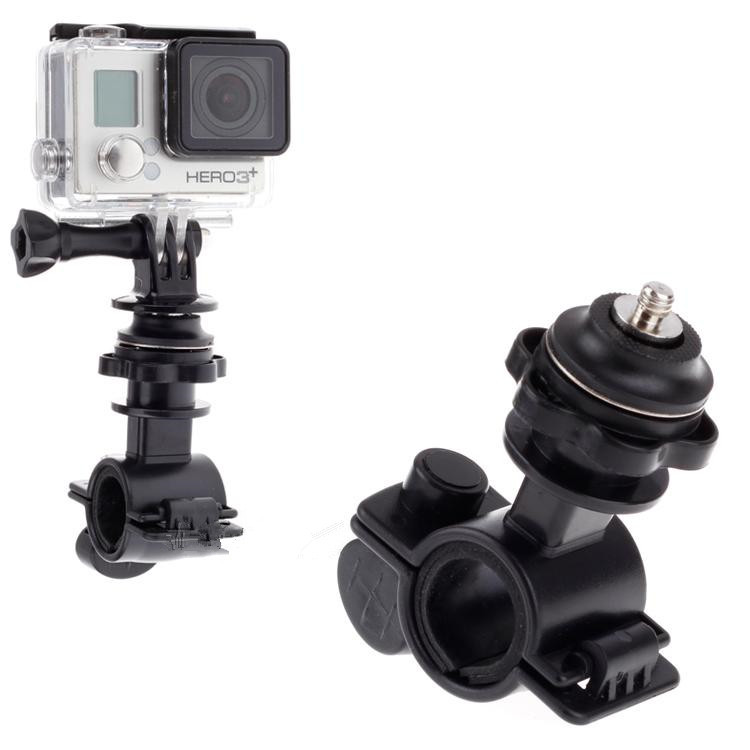 New! Bike Bicycle Handlebar Bracket Mount + Tripod Adaptor Clamp For Go Pro Hero 4 3+ 3 2 1 Sports Digital Camera Accessories<br><br>Aliexpress