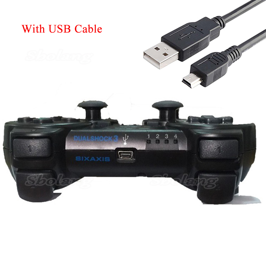 Wireless Bluetooth Game Controller SIXAXIS Joysticks Controller For Sony PS3 Controller for PS3 Playstation3 +USB Cable(China (Mainland))