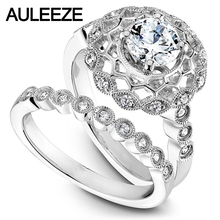 Buy 14K White Gold Flower Ring For Women Unique Hollow Moissanites Engagement Ring Halo 1 CT Round Cut Lab Grown Diamond Wedding set for $652.00 in AliExpress store