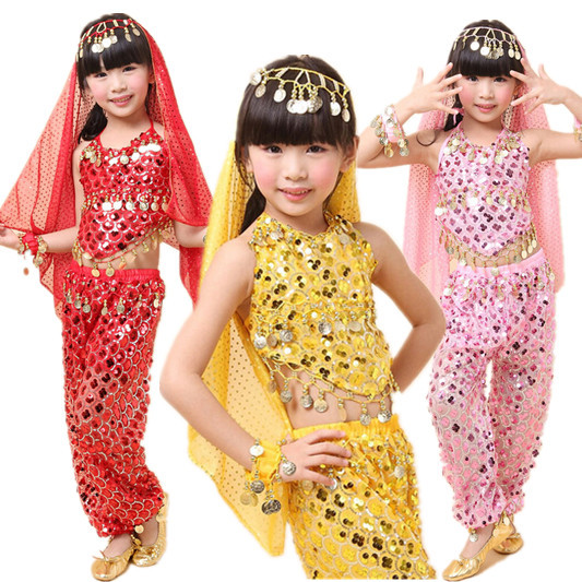 New Style Girls Kids Belly Dance Costume Sparkly Circle Sequin Coins Child Bellydance Top&Pants&Veil&Bracelet Set(China (Mainland))