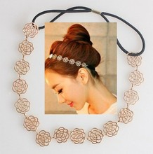 Fashion New Lovely Metallic Lady Hollow Rose Flower Elastic Hair HeadBand Headband Headwear Accessories Women Garland